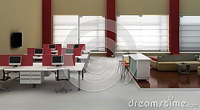 Interior do escritório do espaço aberto