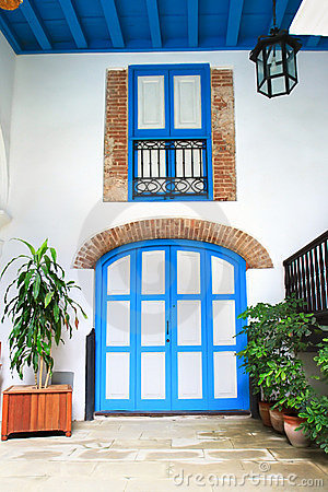Interior door and window of colonial house, Havan