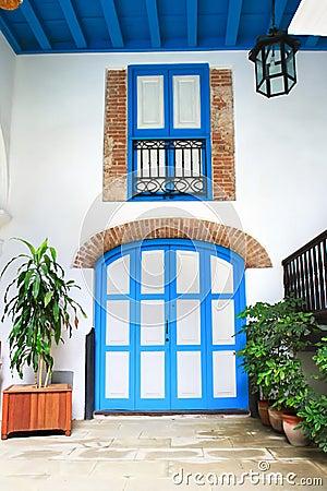 Interior door and window of colonial house, Havan