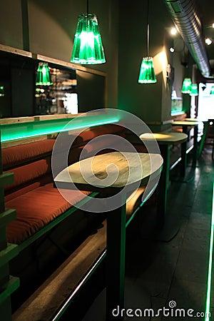 Interior of empty bar