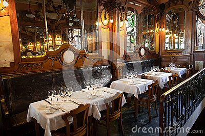 Interior of an empty old-fashioned restaurant Editorial Stock Photo