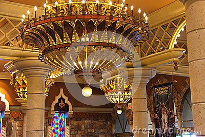 Interior the Excalibur Hotel and Casino in Las Vegas. Editorial Stock Image