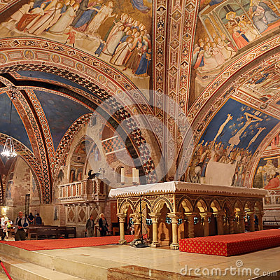 Free Interior Famous Basilica Of St. Francis Of Assisi Basilica Papale Di San Francesco With Lower Plaza At Sunset In Assisi, Umbria, Stock Photos - 97085393