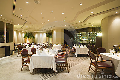 Interior of fine dining restaurant
