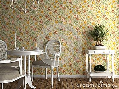 Interior flowery wallpaper