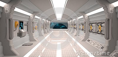 Interior futurista da nave espacial do projeto com os for Interior nave espacial