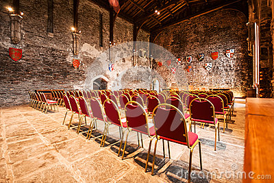 Interior of the Great Hall of Caerphilly Castle Editorial Photography
