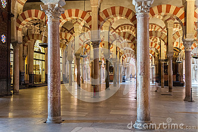Interior Of The Great Mosque In Cordoba Editorial Image