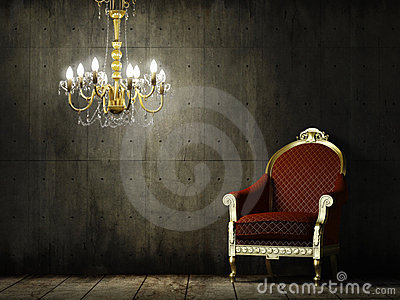 Interior grunge room with classic armchair