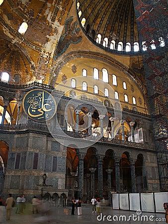 Interior of Hagia Sophia in Istanbul