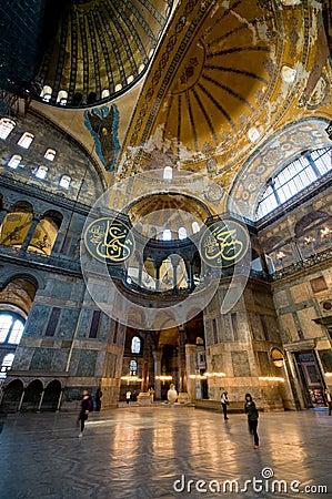 Interior of Hagia Sophia museum in Istanbul.