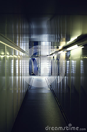 Interior hallway to aircraft door