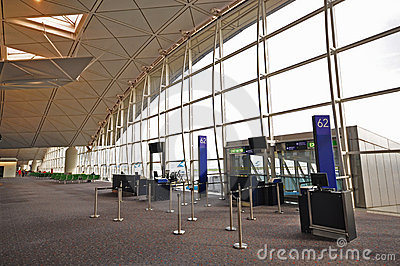 Interior of Hong Kong International Airport Editorial Stock Photo