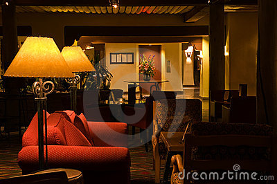 Interior hotel lobby and lounge