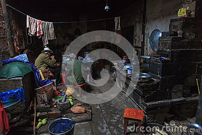 Interior of a house in the slums Editorial Stock Image