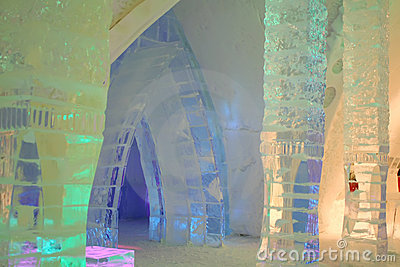 Interior ice hotel with colored light. Editorial Stock Photo