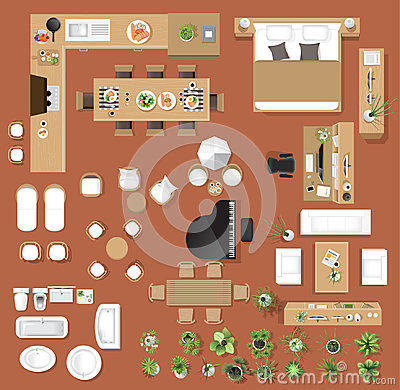 Interior icons top view, tree ,furniture, bed,sofa, armchair Vector Illustration