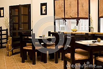 Interior of japanese restaurant, sushi bar