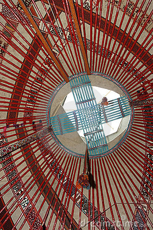 Interior of kazakh nomad s yurt