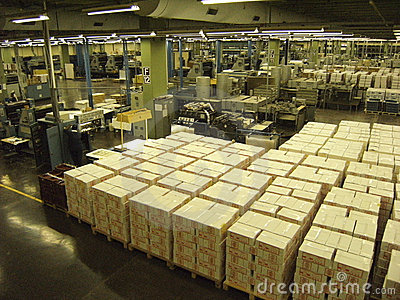 Interior of koran (Quran) factory Editorial Stock Photo