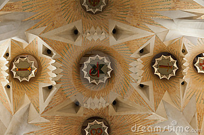 Interior of La Sagrada Familia Editorial Stock Image