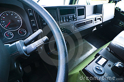 Interior of large truck cab