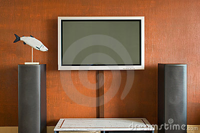 Interior with LCD television set