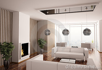 Interior of living room with fireplace 3d
