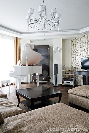 Interior Of Living Room With White Piano Stock Images