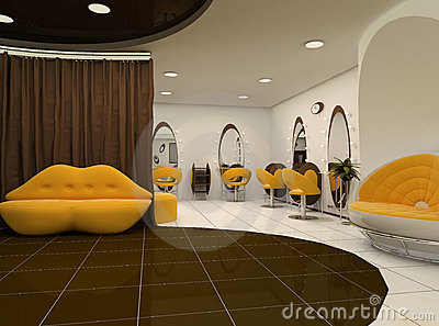 Interior of luxury beauty salon