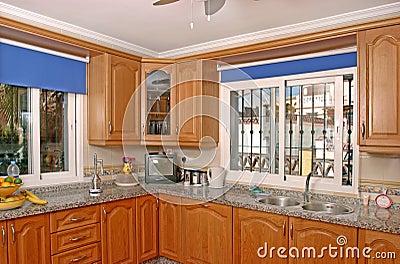 Interior of luxury kitchen in Spanish villa