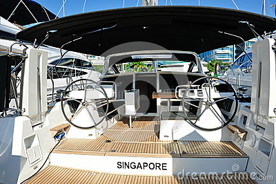 Interior of a luxury yacht at Singapore Yacht Show Editorial Image