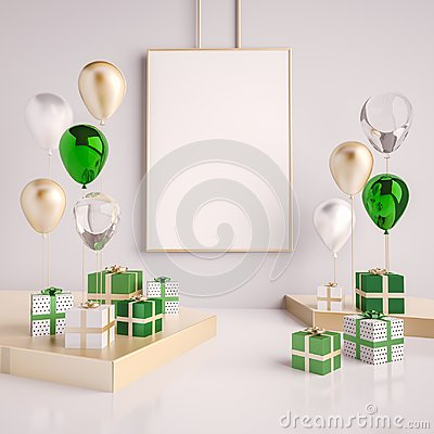 Free Interior Mock Up Scene With Green And Gold Gift Boxes And Balloons. Realistic Glossy 3d Objects For Birthday Party Or Promo Poster Royalty Free Stock Photos - 110686918