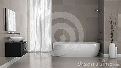 Interior Of Modern Bathroom With Grey Tiles Wall Stock Illustration ...