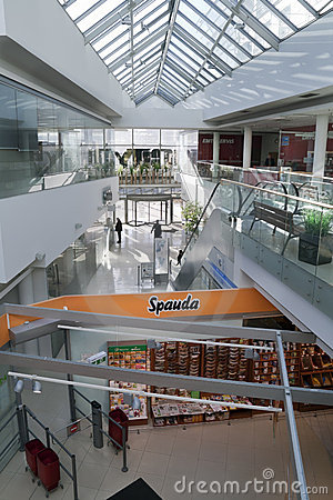 An interior of a modern building with shops Editorial Photo