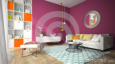 Interior of modern design living room with round mirror 3D rendering Stock Photo