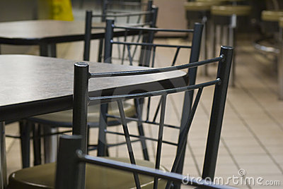 Interior of a modern fast food