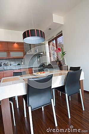 Interior of the modern kitchen