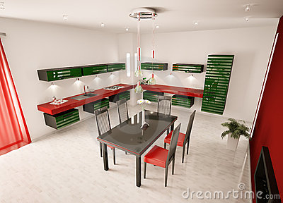 Interior of modern kitchen top view 3d render