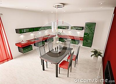 Interior of modern kitchen top view 3d render