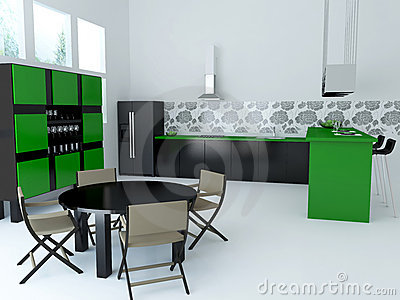Interior of modern large kitchen