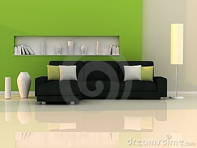 Interior of the modern room,green wall,black sofa