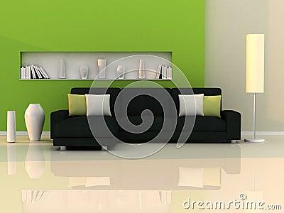 Interior of the modern room,green wall,black sofa