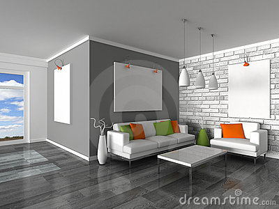 Interior of the modern room, grey wall and white s