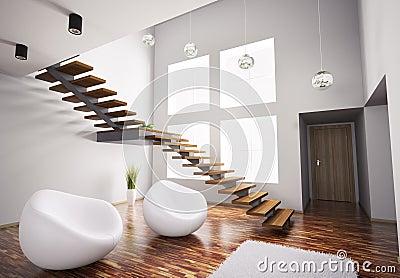 Interior moderno con las butacas y la escalera 3d