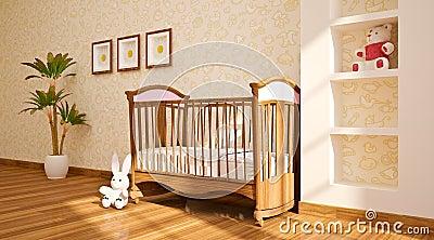 Interior moderno mínimo del cuarto de niños.