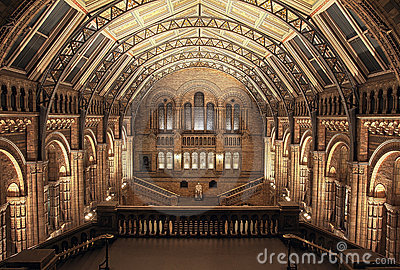 Interior of Natural History Museum, London. HDR Editorial Image