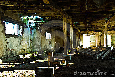 Interior of neglected cow barn