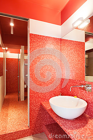 Interior new apartment, red bathroom