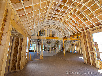Interior new house framing